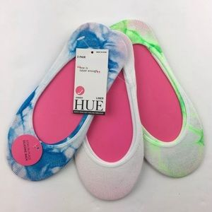 Hue 3 Pair No Show Sock Liner Tie Dye Neon Green